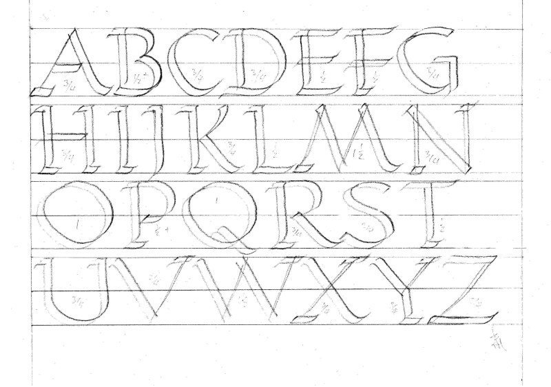 Calligraphy.Roman capitals alphabet.double pencils.img.jpg