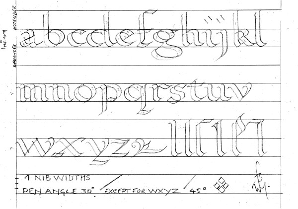 Calligraphy.roundhand alphabet.double pencil.img.jpg