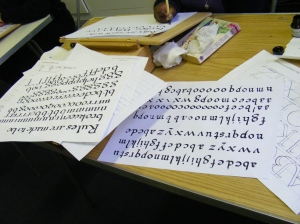 Luton Calligraphy Workshops. Week 4. Pen-work. img. jpg